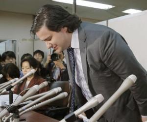 MtGox VD Mark Karpeles på presskonferensen i Tokyo